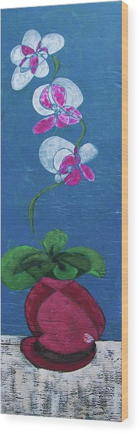 Orchid Inspired Floral On Blue 2 Wood Print
