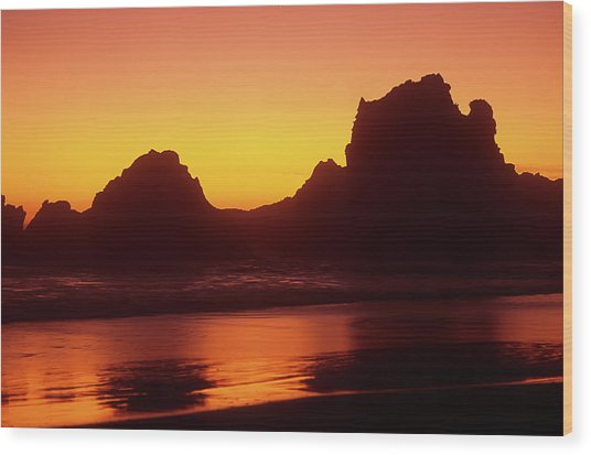 Oregon Coast Rocks Sunset Wood Print