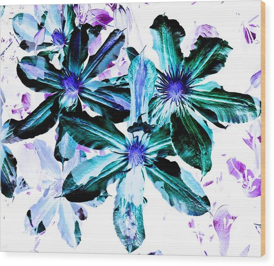Organic Techno Flowers Wood Print
