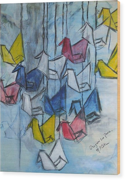 Origami For Peace Wood Print by Michel Croteau