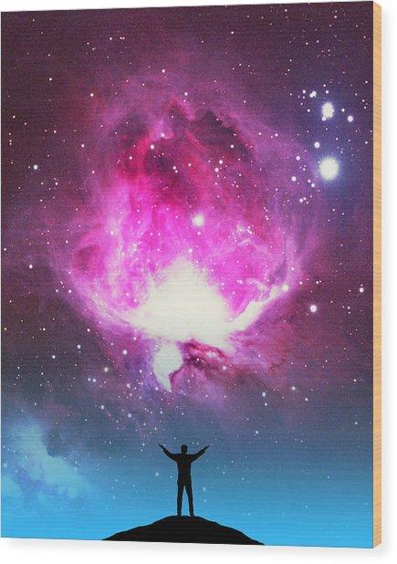 Orion Nebula Awestruck Wood Print