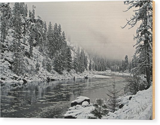 Orofino Snow Clearwater River Wood Print
