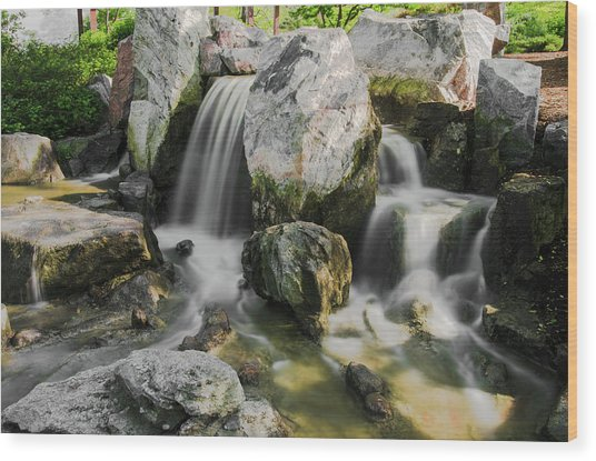 Osaka Garden Waterfall Wood Print