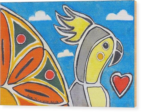 Our Heart Bird Oscar Wood Print