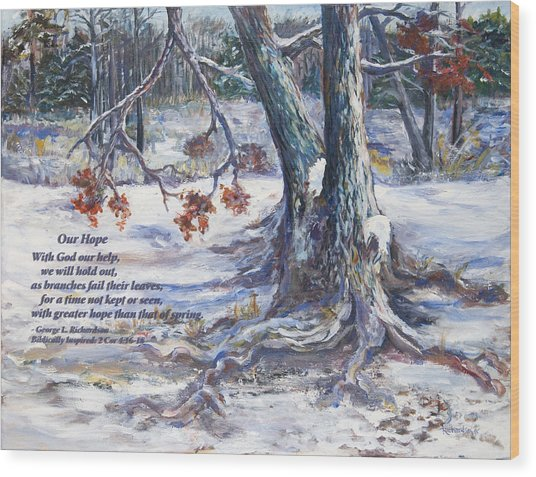Our Hope With Poem Wood Print