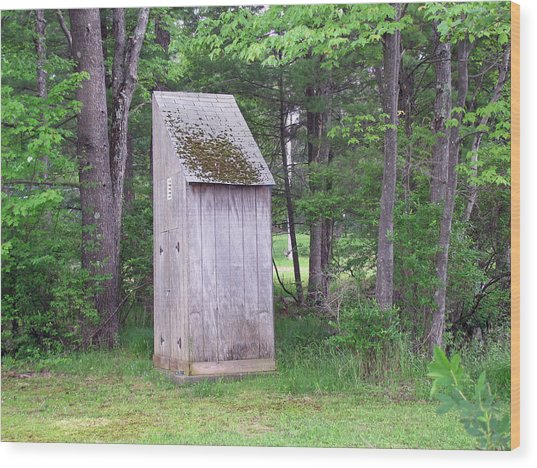 Outhouse In The Woods Wood Print