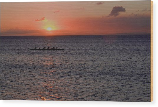 Outrigger Sunset Wood Print by Tony and Kristi Middleton