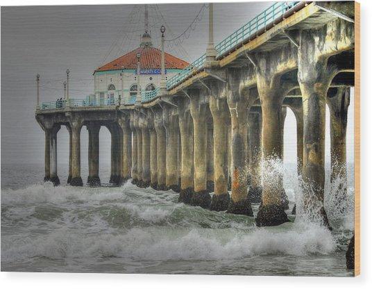 Overcast Manhattan Beach Pier Wood Print