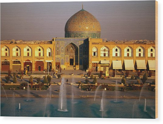 Overhead Of Fountains Outside Sheikh Lotfollah Mosque, Emam Khomeini Square, Esfahan, Iran Wood Print by Mark Daffey