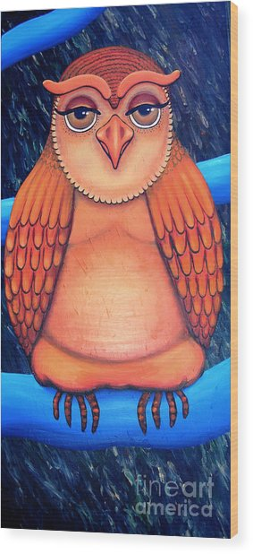 Owl In Oil Wood Print by Barbara Stirrup