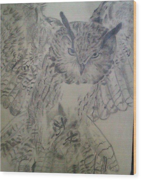 owl Wood Print by Jamie Mah
