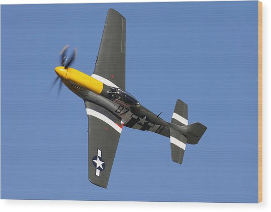 P51 Mustang Cadillac Of The Skies Wood Print