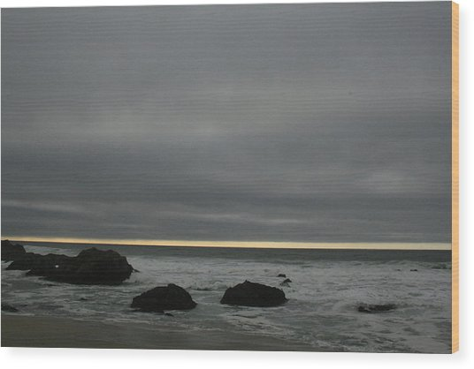 Pacific Ocean At Bodega California Wood Print