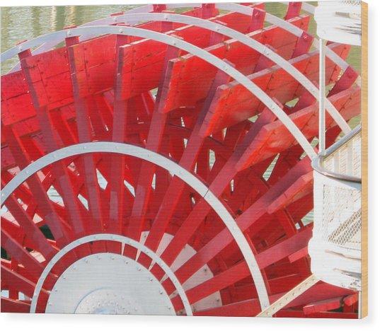 Paddle Wheel Wood Print by Barry Jones