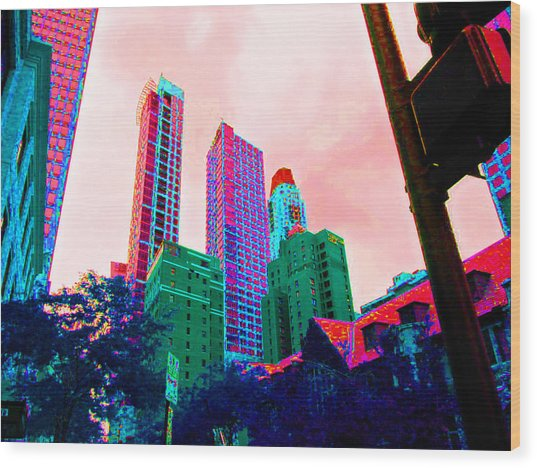 Paint The Town Red Wood Print by Val Oconnor
