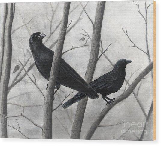 Pair Of Crows Wood Print