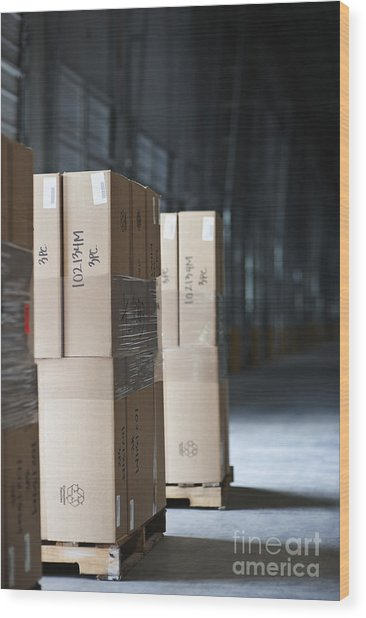 Pallets Of Stacked Boxes Wood Print by Jetta Productions, Inc