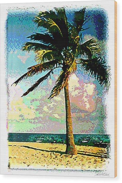 Palm Three Wood Print by Linda Olsen