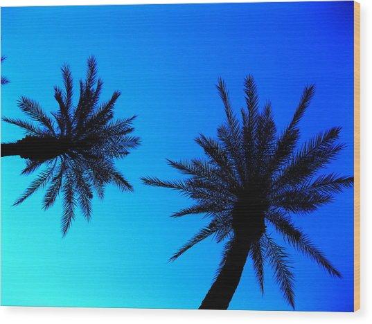 Palm Trees At Dusk Wood Print
