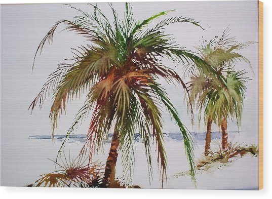 Palms On Beach Wood Print