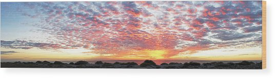Panoramic Beach Sunset Wood Print