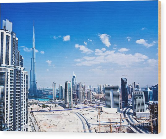 Panoramic Image Of Dubai City Wood Print by Anna Om