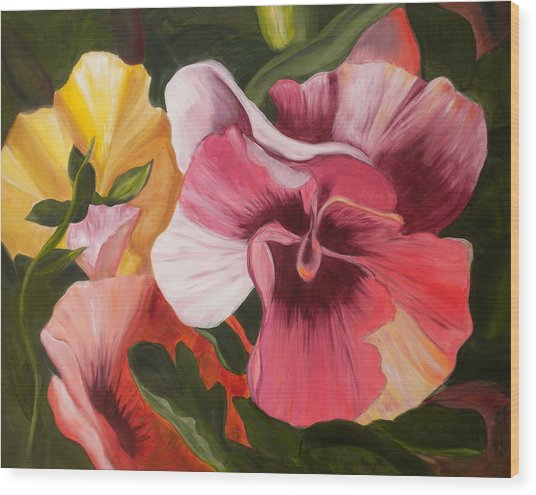 Pansies Wood Print by Yvonne Knight
