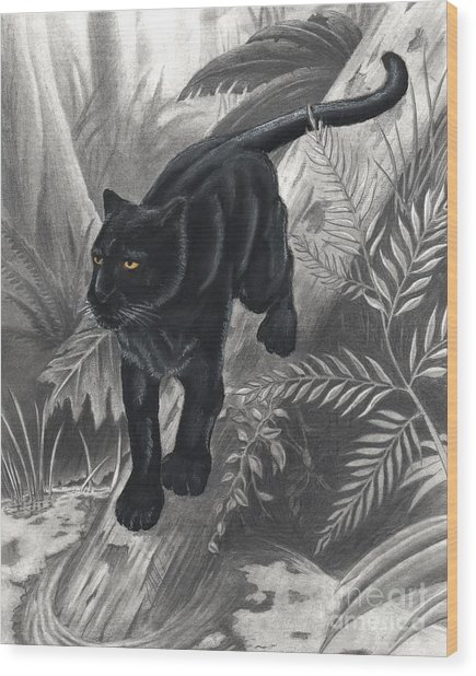 Panther By The Water Wood Print