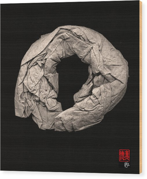 Paper Sculpture Zen Enso 2 Wood Print