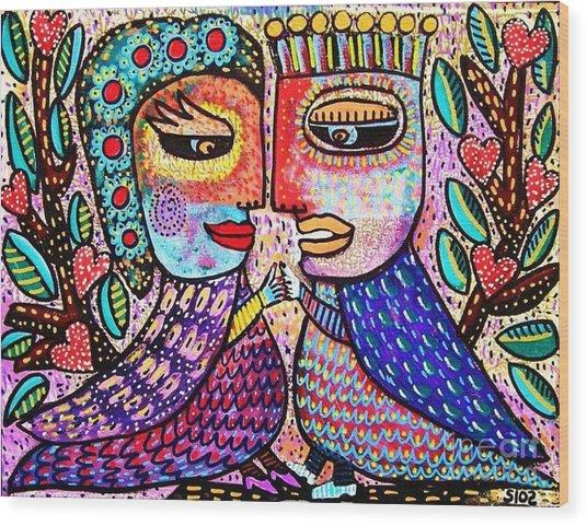 Paradise Lovebirds Wood Print