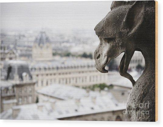 Paris Gargoyle Wood Print