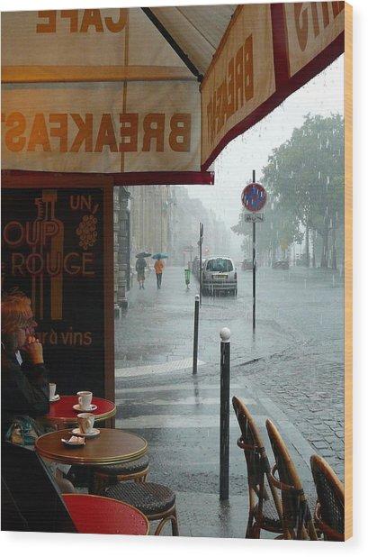 Paris Pluie Wood Print
