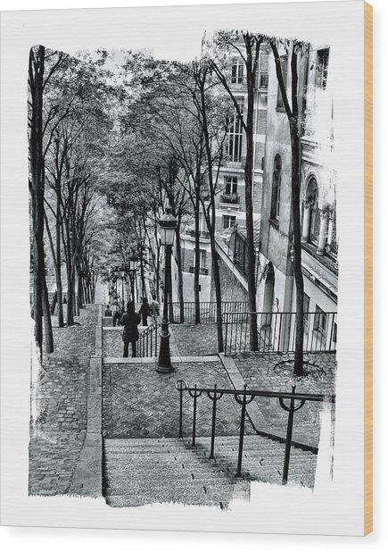 Paris Stairway Wood Print