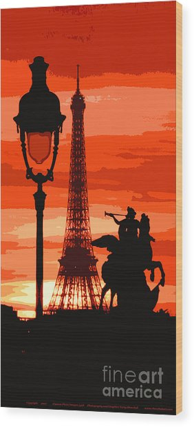 Paris Tour Eiffel Red Wood Print