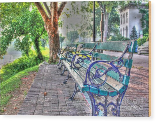 Park Bench On Riverside Drive Wood Print