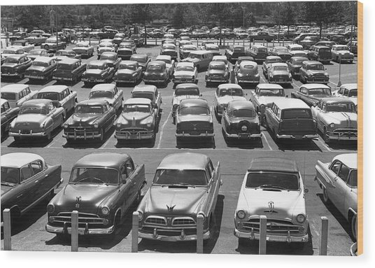 Parking Lot Full Of Cars Wood Print by George Marks