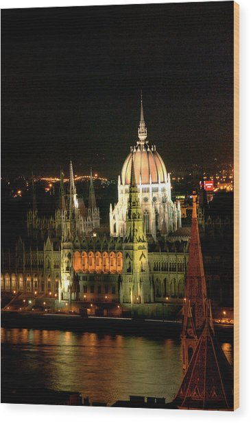 Parliament Building Lit Up At Night, Danube River, Wood Print by Roberto Herrero Garcia