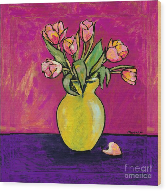 Parrot Tulips In A Yellow Vase Wood Print