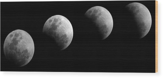 Partial Lunar Eclipse Wood Print