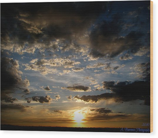 Partly Cloudy Skies At Sunset Wood Print by Aaron Burrows