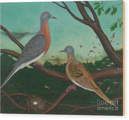 Passenger Pigeon Evening Flight Wood Print