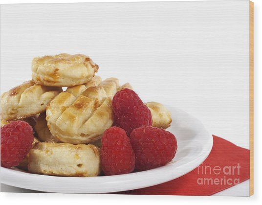 Pastries And Raspberries Wood Print by Blink Images