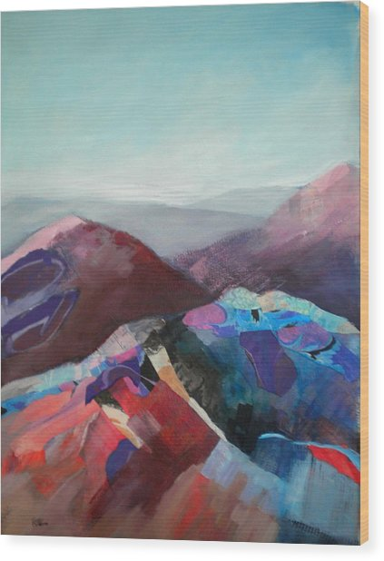 Patchwork Mountain Wood Print by Sally Bullers