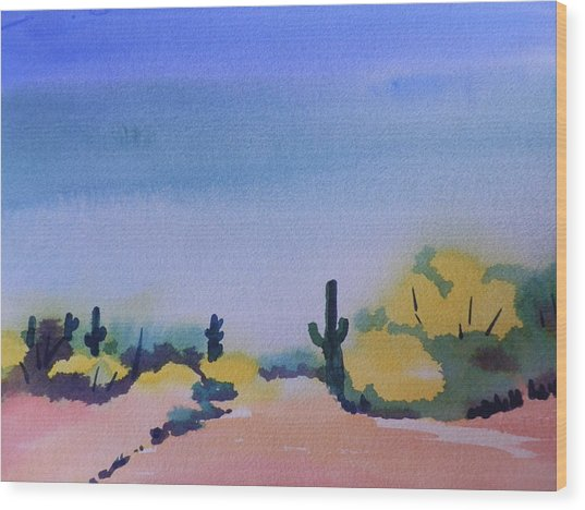 Path In The Desert Wood Print