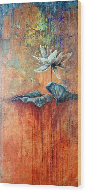 Patina Lotus Wood Print