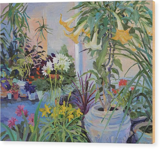 Patio With Flowers Wood Print