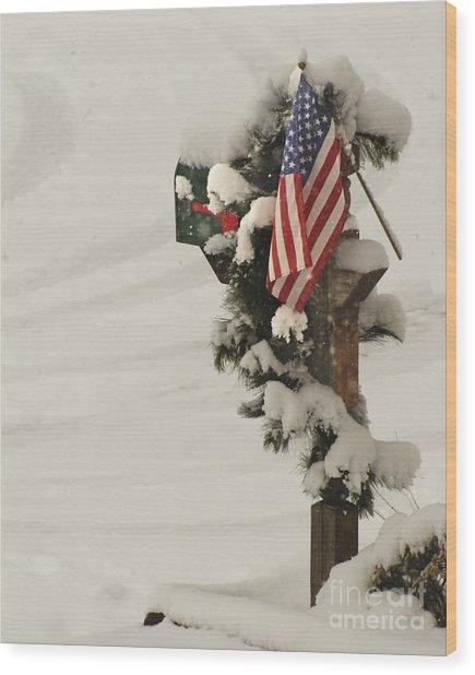 Patriotic Holiday Mailbox Wood Print