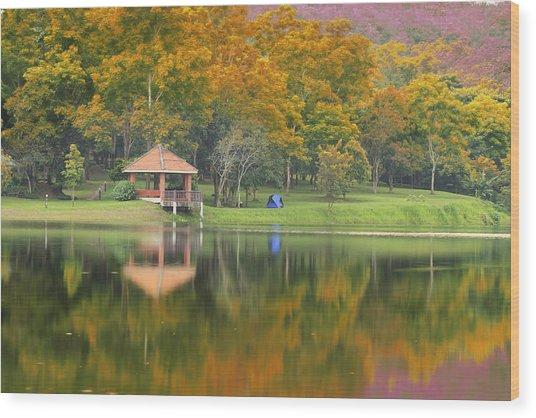 Pavillion In The Autumn Park  Wood Print by Anek Suwannaphoom