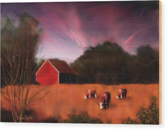 Peaceful Pasture Wood Print by Suni Roveto