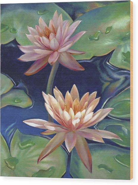 Peachy Pink Nymphaea Water Lilies Wood Print